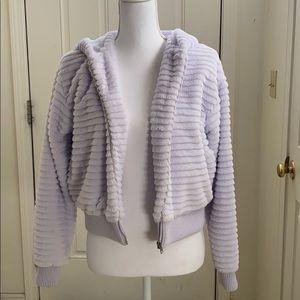 Lavender purple fuzzy cropped jacket